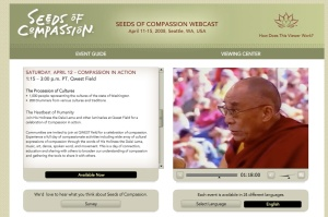 Dalai Lama speaking at Seeds of Compassion