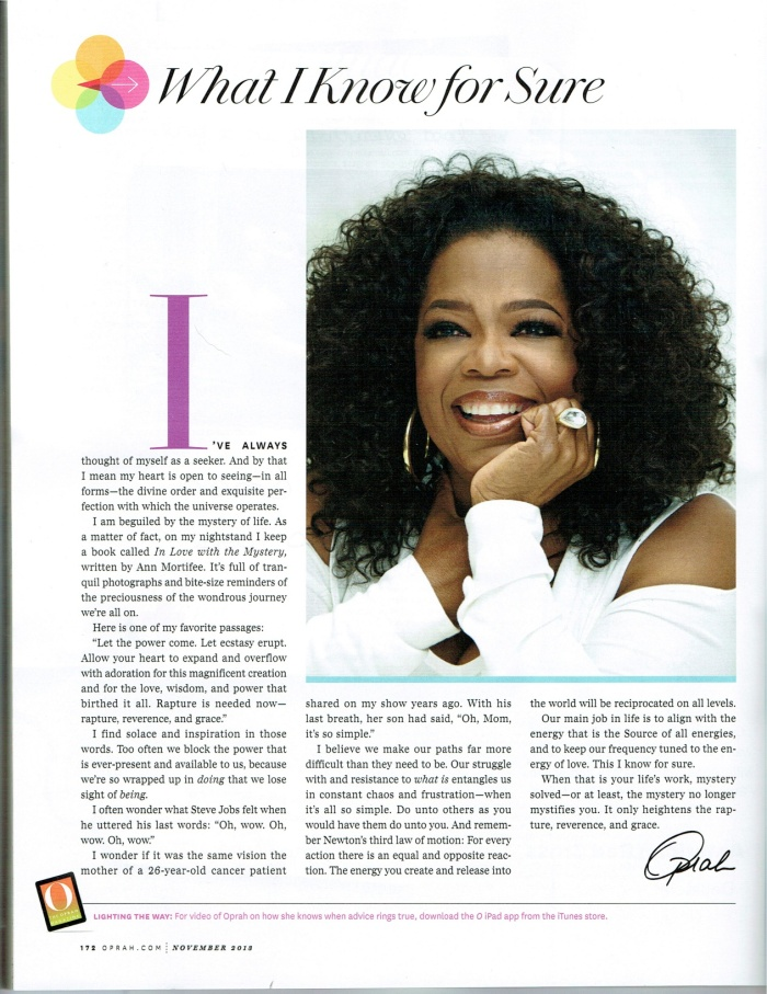 Oprah, What I know for Sure Nov 2013