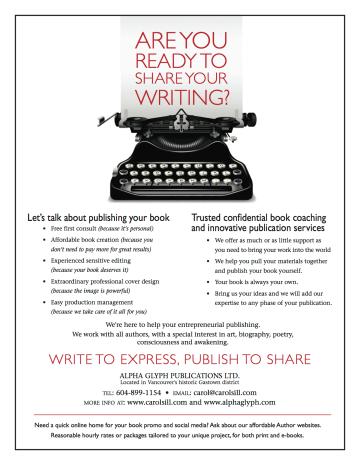 AlphaGlyph book publishing flyer/ Carol Sill